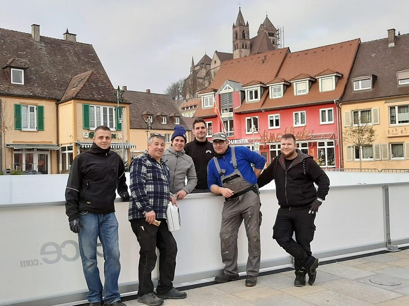 Glice Synthetic Ice Rink Installation in Historic German Town Breisach