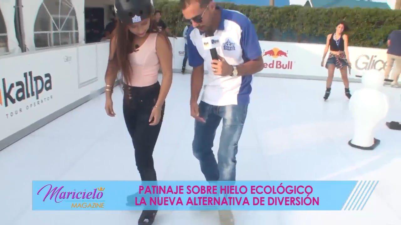 Synthetische Glice® Eisbahn ist der neue Freizeitstar in Lima und schafft es ins peruanische Fernsehn