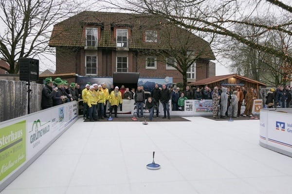 Eisstock Curling Event on Glice® Synthetic Ice Rink at German Hotel Meyerink Becomes People Magnet