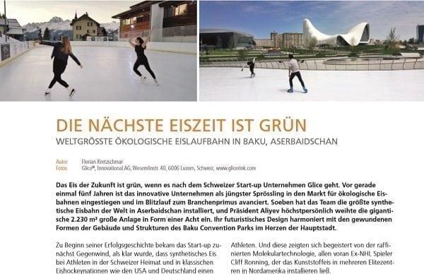 Internationale Vereinigung Sport und Freizeiteinrichtungen (IAKS) berichtet über weltgrößte synthetische Eisbahn von Glice®