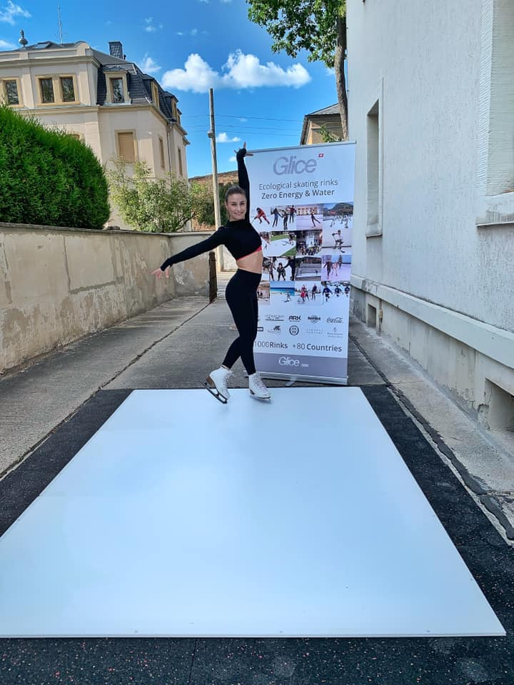 Arriving to the Event with Her Own Synthetic Ice Glice Rink – A New Era for Figure Skater Patricia Kühne