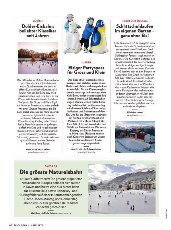 Las pistas de hielo sintético Glice® han sido mencionadas en una popular publicación Suiza.