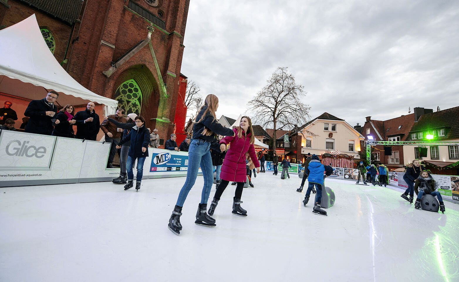 synthetic ice rink on a German town square