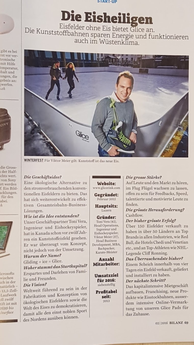 "Glice® featured in Swiss business magazine ""Bilanz"""